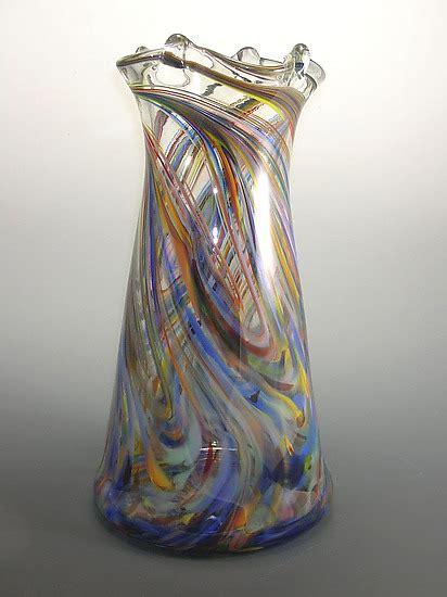 rainbow tower vase  mark rosenbaum art glass vase