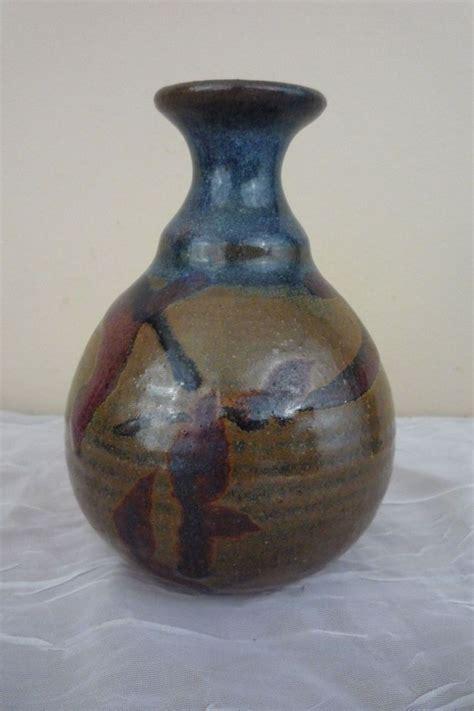 vintage studio pottery vase signed jf beautiful