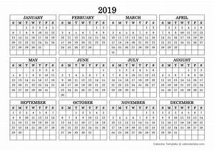 2019 Blank Yearly Calendar Landscape Free Printable
