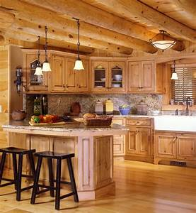 Log cabin kitchens with modern and rustic style for Kitchen cabinets lowes with rustic mexican wall art