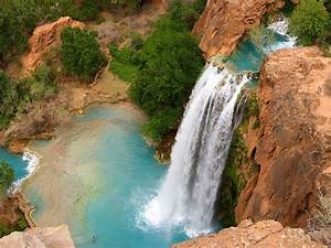 Grand, Canyon, Havasu, Falls, Arizona, Usa, Blue, Waters, Red, Rock