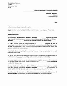 Remboursement Assurance Emprunteur Lettre Type : mod le de lettre remboursement par anticipation d 39 un pr t ~ Gottalentnigeria.com Avis de Voitures