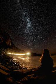 Beautiful Night Sky with Moon Stars