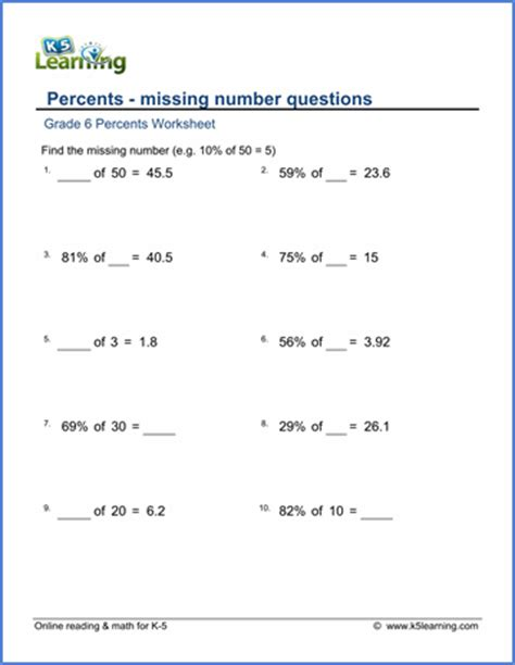 Grade 6 Math Worksheet  Percents  Missing Numbers  K5 Learning