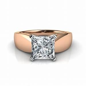 1.25 Carat Wide Band Princess Cut Diamond Engagement Ring ...