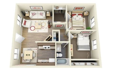 plan appartement 2 chambres idee plan3d appartement 2chambres 15