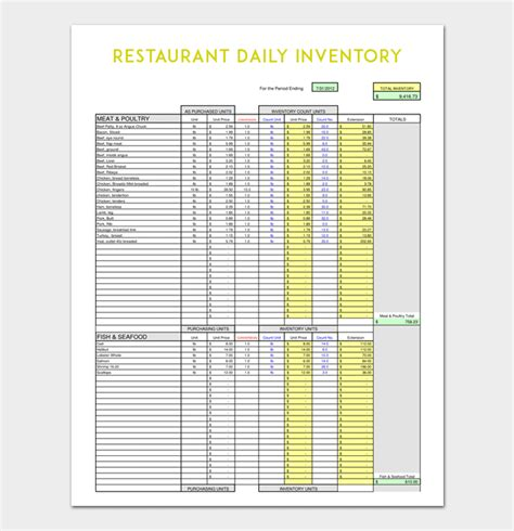 daily inventory template   word excel
