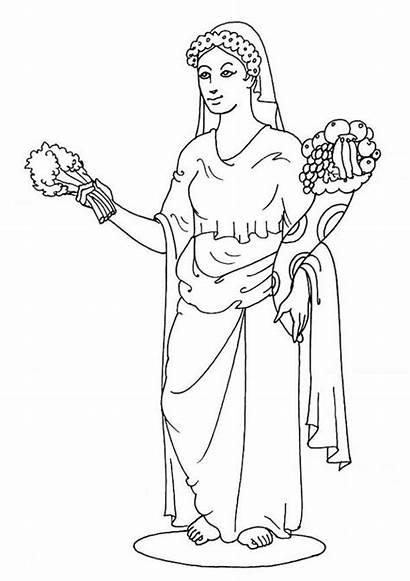 Coloring Greek Gods Pages Goddesses Demeter Popular