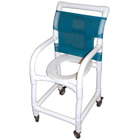 15 wide pvc shower commode chair with standard commode seat
