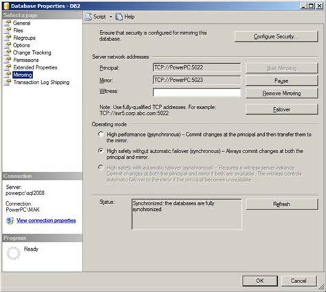 T Sql Resume Mirroring by Database Mirroring Using T Sql Databasejournal