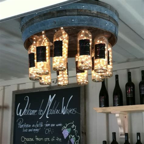 diy wine barrell wine bottle chandelierapplepins