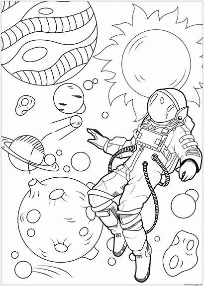 Galaxy Coloring Astronaut Pages Float Printable Yourself