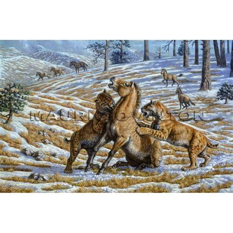 prehistoric animals extinct horse hunting homotherium mammals smilodon anton sabertooth age stone north giant horses cave creatures bear pleistocene cats