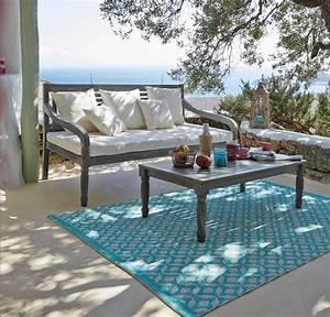 tapis d39exterieur en pvc turquoise maisons du monde With maison du monde exterieur