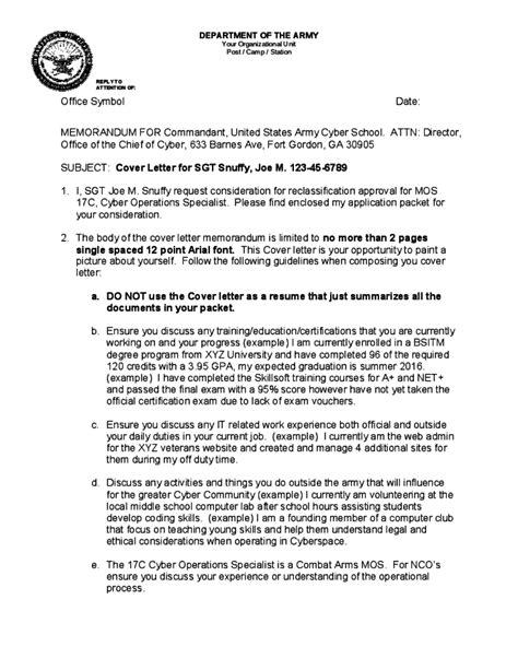 official memorandum format  army