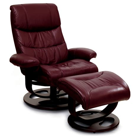 comfortable red leather recliner  ottoman