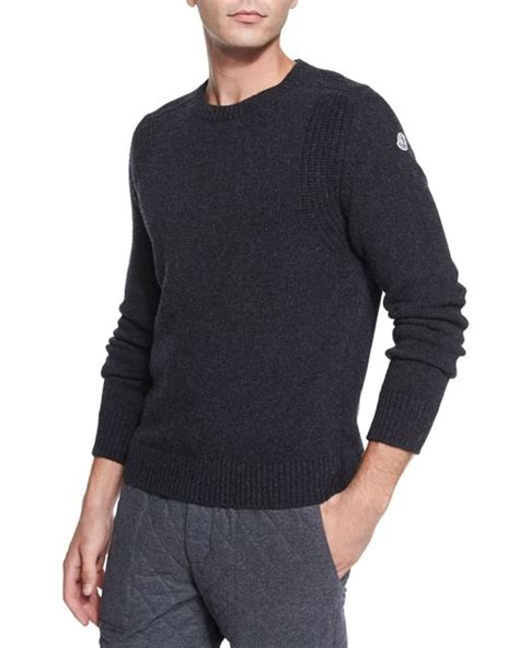 moncler sweater moncler wool crewneck sweater in gray for save 20
