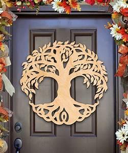 Wooden door wall decor : Celtic tree of life wall d?cor and door hanger unfinished