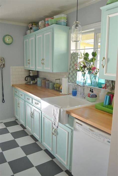 vintage kitchen tile backsplash 50s kitchen makeover seafoam chalk paint cabinets