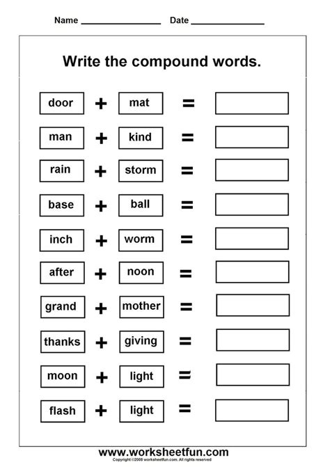 compound words worksheets for kindergarten compound