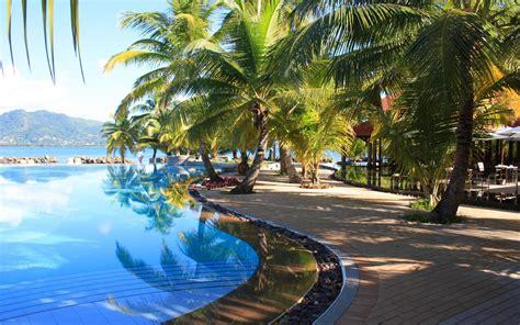 peaceful tropical pool hd desktop wallpaper widescreen