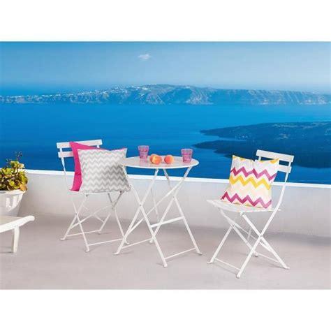table et chaises de jardin pas cher table et 2 chaises de jardin en acier blanc fiori