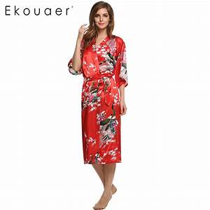 aliexpresscom buy women satin kimono robe sleepwear With robe de chambre femme longue