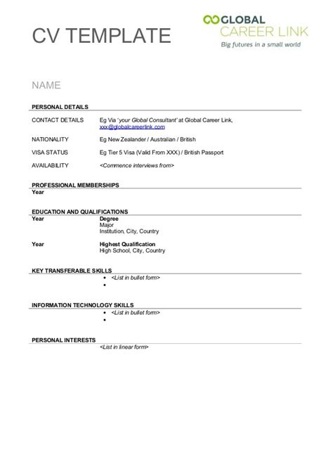 Resume Template Exles by Resume Template Nz Free Excel Templates