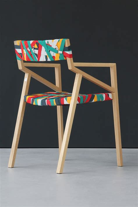 trendy minimalist wood chair wrapped  multicolored