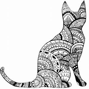 'Zentangle Cat Drawing' Sticker by ayseart-un