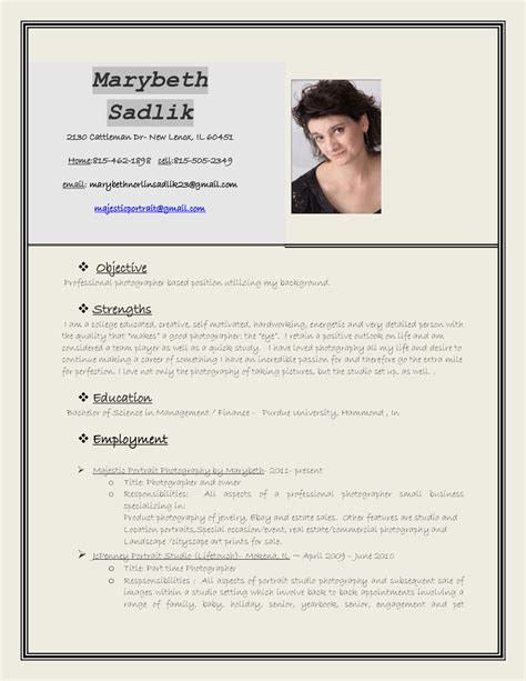 photographer resume sample sample resumes