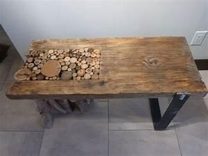 Table de salon avec rondin de bois flotte patte en acier for Maison rondin bois prix 19 tables