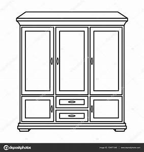 Classical cupboard icon in outline style isolated on white ...