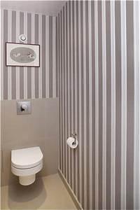 Papier Peint Pour Wc : papier peint wc rayures taupe blanc farrow ball ~ Nature-et-papiers.com Idées de Décoration