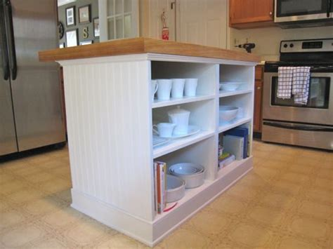 kitchen island with open shelves diy island w two basic base cabinets at ikea with 8257