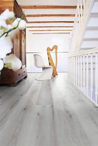 Lame pvc clipsable imitation parquet blanc wineo 800 for Lame pvc imitation parquet