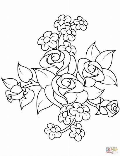 Coloring Flores Colorir Flower Roses Rose Flowers