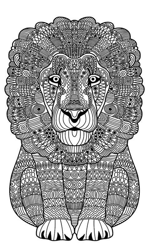 lion zentangle animal coloring pages adult coloring
