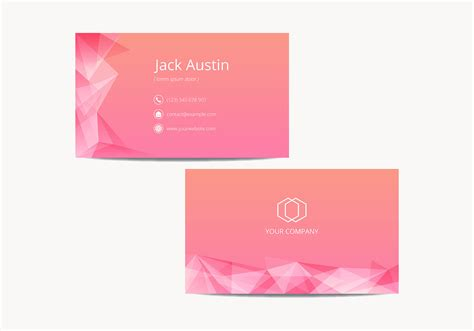 card template for pink modern name card template vector free