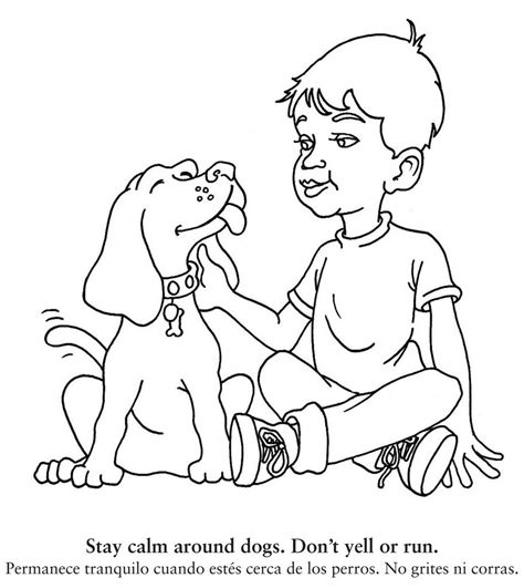 coloring book teaches children   safe  dogs