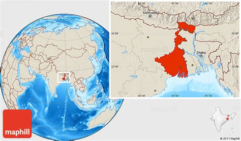 shaded relief location map  west bengal