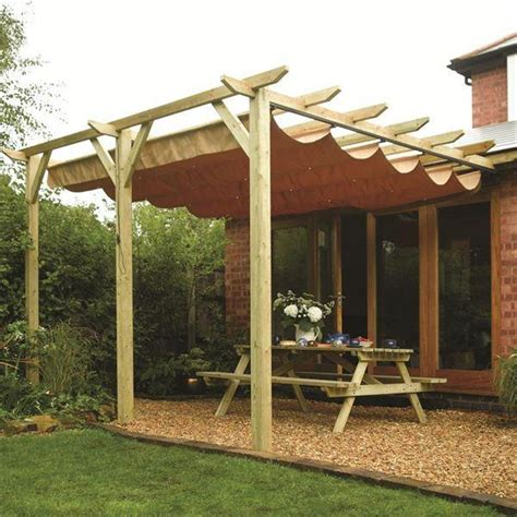 sienna wooden patio pergola garden sun canopy gazebo