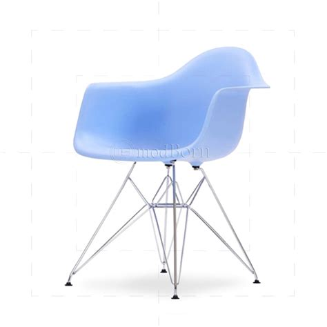 eames style dining dar arm chair blue