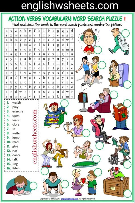 esl printable vocabulary worksheets  exercises
