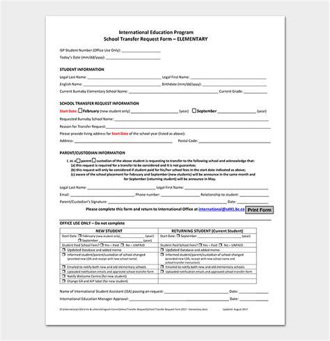 elementary school transfer request letter format samples