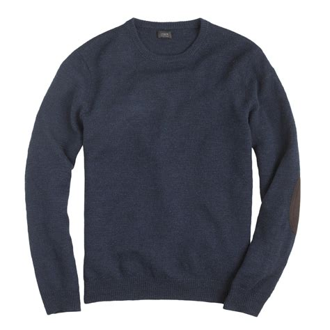 patch sweater j crew rustic merino patch sweater in blue for