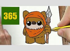 HOW TO DRAW A EWOK CUTE, Easy step by step drawing lessons