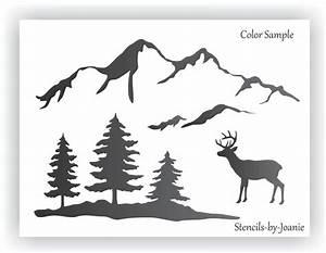 Joanie STENCIL Snowy Smokey Mountain Range Pine Tree Deer
