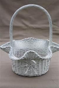 Vintage White Wicker Wedding Flower Basket  Brides Basket