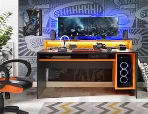 Pc Tisch Gamer : gamer tisch pc schreibtisch tzrb212 tezaur von forte schwarz orange ~ A.2002-acura-tl-radio.info Haus und Dekorationen